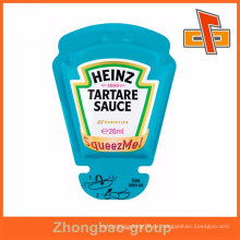 Heißsiegelbare benutzerdefinierte Form Kunststoff Squeeze Tasche für Tartare Sauce Paket