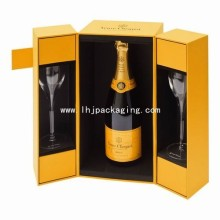 High Quality Champagne Packaging Gift Paper Box with Two Glass