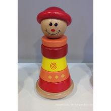 Woodenn Toy von Stacking Ring mit niedlichen lustigen Baby-Form für Baby Kinder und Kinder