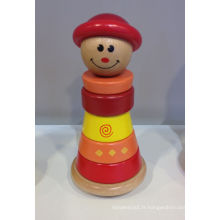 Woodenn Toy de Stacking Ring avec Cute Funny Baby Forme pour bébé enfants et enfants