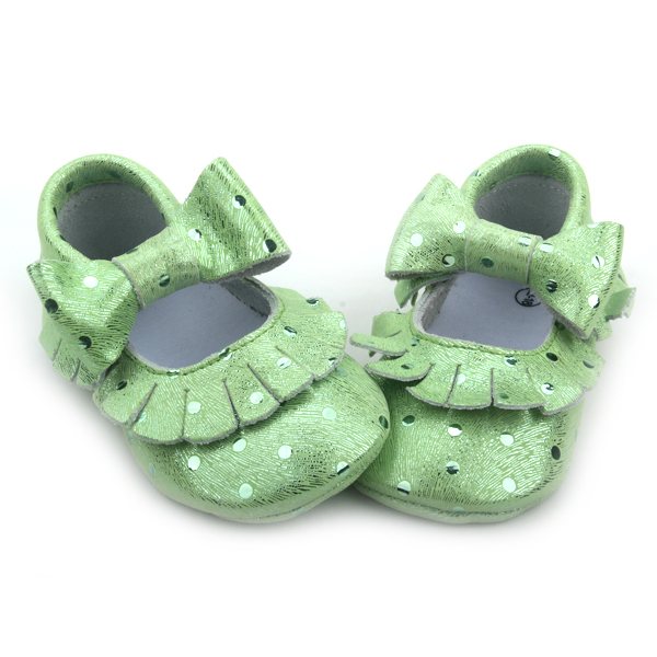 Läder Baby Girls Dress Skor Cyan Metallic Moccasins