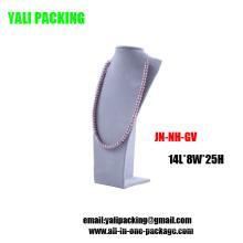 Affichage de collier de bijoux de MDF de velours gris en gros (JN-NH-GV)