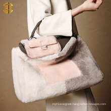 Luxury Real Sheep Skin Fur Made Tote Hand Bag Lady Fur Bag