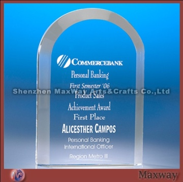 Transparent Arc-shaped Border Polished Acryl/PMMA Trophy/Paperweight/Pressie with Logo