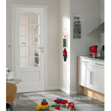 Branco pintado em arco interior francês porta com vidro e painel do MDF