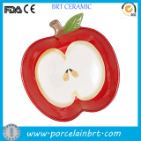 Decorative Apple Shaped Ceramic Print Plate