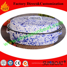 Hand-Painted Customized Color 45*34*18cm Dimension Cookware Enamel Roaster Pan