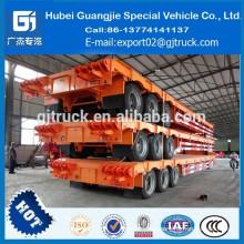 China semirremolque extensible de la cama baja extensible del árbol semi del remolque plano de las ventas 80T 3