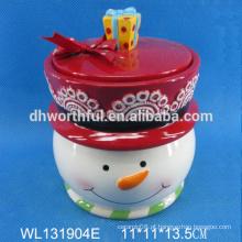 Whlosale recipiente de armazenamento de cerâmica com forma de boneco de neve de Natal