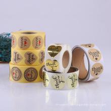 Billiger Rollen-Logo-Druck Sterben Privatdruck personalisierte bedruckte Papierklebstoff-Verpackungsetiketten