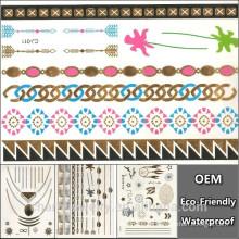 Soem-preiswerter Preis-Qualitäts-Goldtätowierung-Choker-Halsketten-temporäre Tätowierung-Art- und Weisehip-Hopfen-Fälschungs-Funkeln-Tätowierung-Aufkleber CJ011