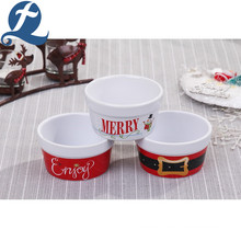 Merry Christmas Printed Kitchenware Food Grade Round Ceramic Bakeware