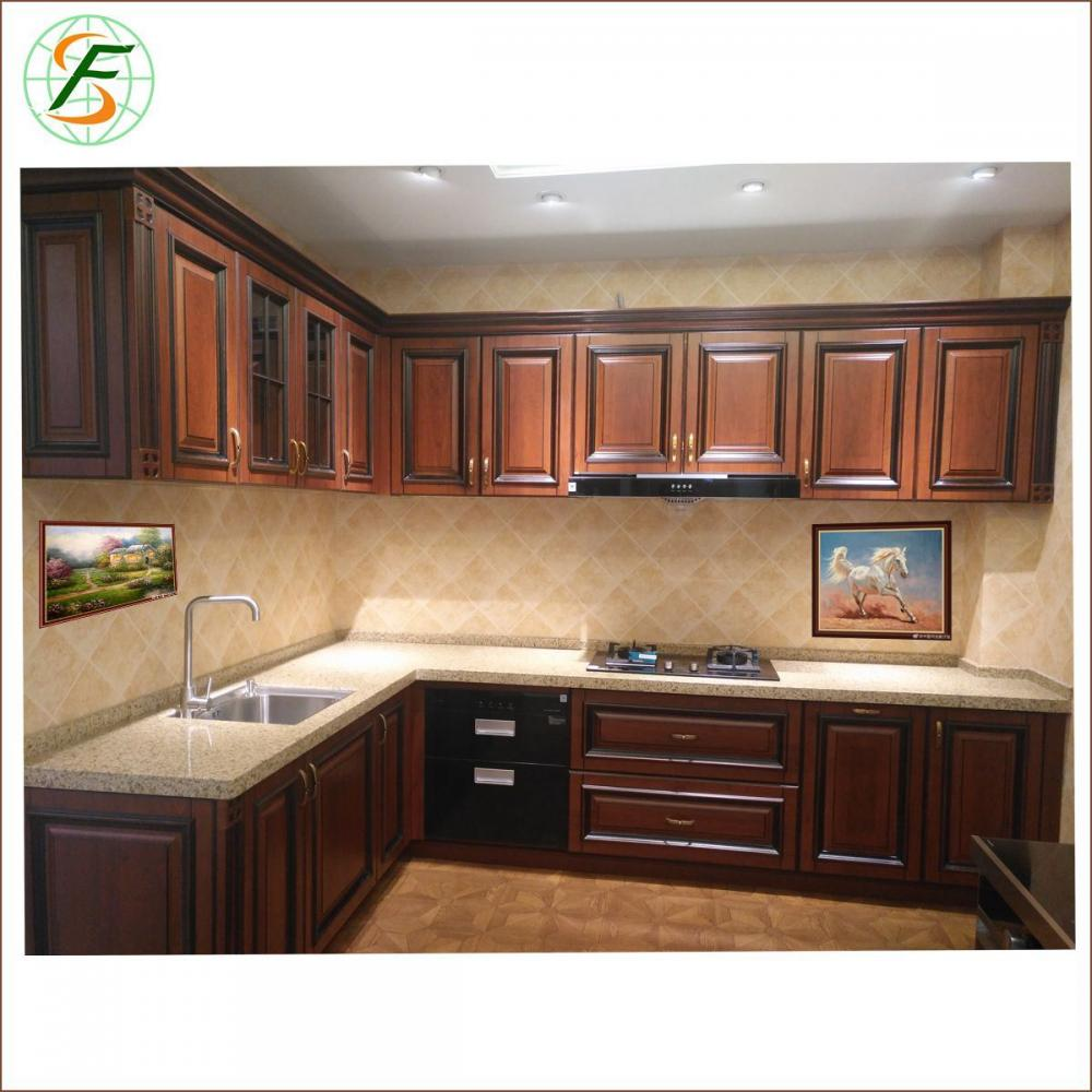 High Quality Luxury Pvc Door High Glossy Lacquer Solid Wood Kitchen Furniture