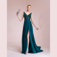 V Neck Beading Chiffon Green Evening Gown