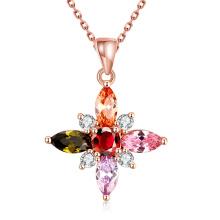 Commerce extérieur Forme glamour Fleur Forme Zircon Pendentif Rose Collier en or Collier
