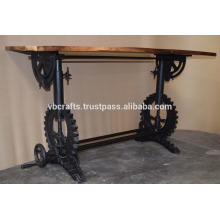 Industrial Draft Crank Gear Base Restaurant Table Recycled Wood Top