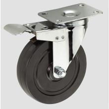 3inch Black Rubber with Whole Brake Caster Wheel