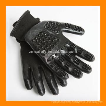 ZMH303 Horse Deshedding Brush Tool Pet Hair Remover Glove, Black Cat Dog Pet Grooming Glove For Animal Shedding
