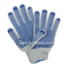 Cotton String Knitted Gloves Blue PVC Dots Safety Work Glove