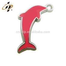 Wholesale cheap custom metal silver pink dolphin girl pendant necklace
