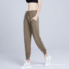 Йога тренировки повседневные свободные длинные брюки