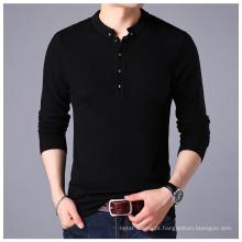 Camisola de Caxemira PK18ST088 botão colarinho moda homem camisola