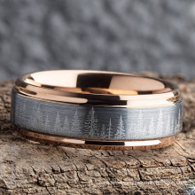 Unique Wedding Ring Rose Gold Tungsten Carbide Pine Tree Forest Wedding Band Mens -Nature Tungsten Mens Rings