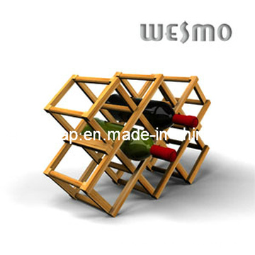 High-End Bamboo Foldaway Wine Rack