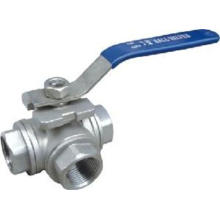 Lever operation Three Way Ball Valve