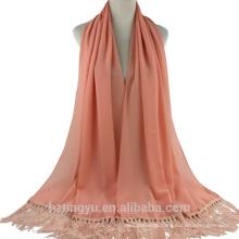 2017 Женская мода печатать обычный пузырь шаль кисточкой шифон хиджаб шарф
