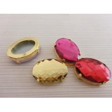 Perles en cristal de verre de forme ovale à dos plat