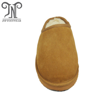 high quality men warm indoor sheepskin clog slippers