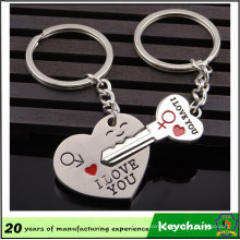 Metal Heart and Key Shape Couple Keychain