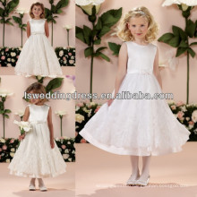 HF2016 Top quality white princess Two layers with lace hemline flower dresses for girl of 5 years old