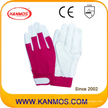 Spandex Adjustable Cuff Industrial Safety Pig Grain Leather Work Gloves (22006)