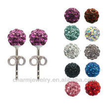 wholesale clay bead earrings rhinestone Shamballa earrings EC-006