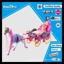 Moda menina carruagem brinquedo conjunto barbie boneca