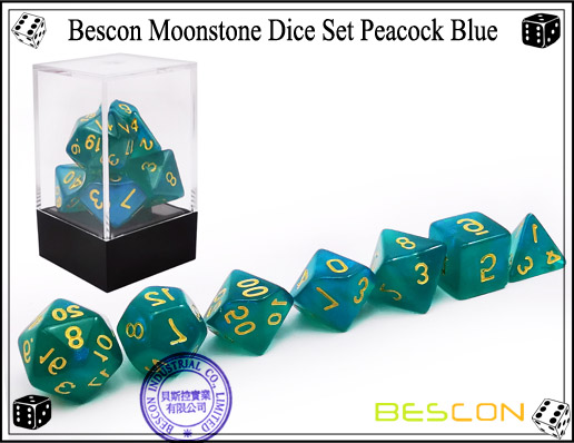 Peacock Blue Dice Set-7