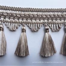 Hochwertige 7cm breite braune Vorhang Quaste Fransen