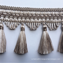 High quality 7cm Width brown curtain tassel fringe