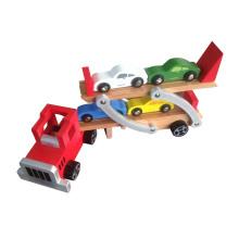 Jouet en bois de transporteur de camion chaud de vente avec 4 voitures de PCS pour des enfants et des enfants