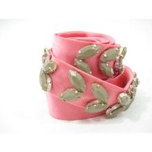 ДИЗАЙНЕР с розовым бисером Шелковый тощий галстук Пояс с шелковым поясом