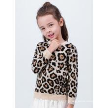 Joli pull en cachemire pour enfant à imprimé léopard