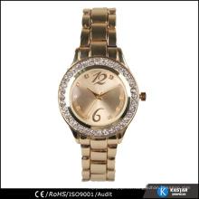 Relojes de oro de las señoras, japón reloj de cuarzo del movt acero inoxidable detrás