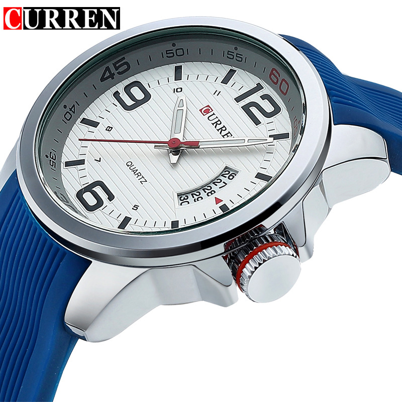 CURREN Water Resistant quartz watch Silicone Wristwatches 5