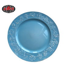 Light Blue Leaves Plastic Charger Plate