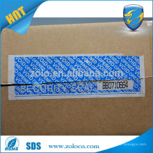 Tamper evident security tape with perforation line and serial numer