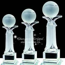 Precio bajo garantizado calidad premios de cristal premios bola trofeo al por mayor