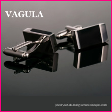 VAGULA Qualität Silber Onyx Manschettenknöpfe (HL10182)