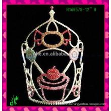 La venta al por mayor diseña la nueva corona de la tiara del rhinestone de la corona del Rhinestone